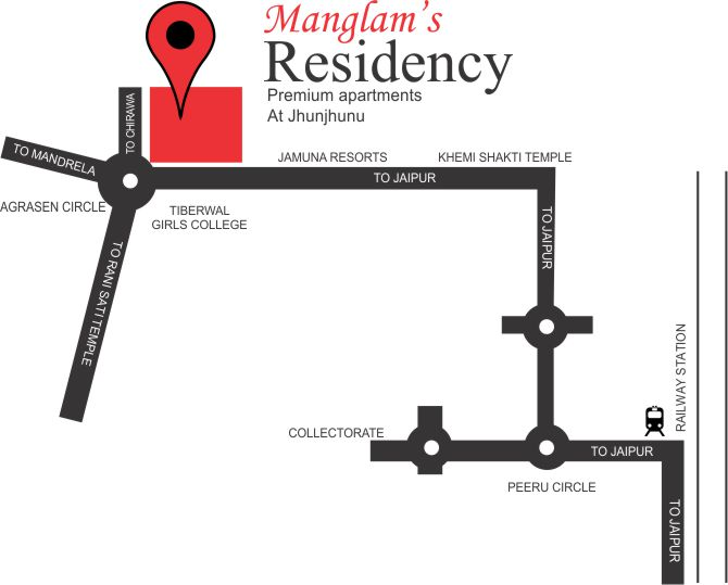Lcation Map Manglam Residency Flats in jhunjhunu