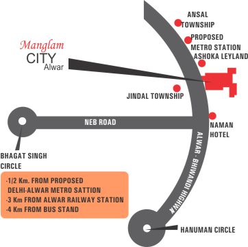 Location Map Manglam City Alwar