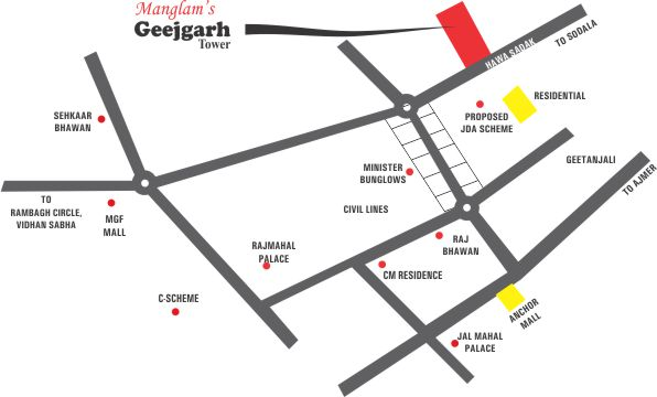 Geejgarh Tower - Manglam Group Location Map