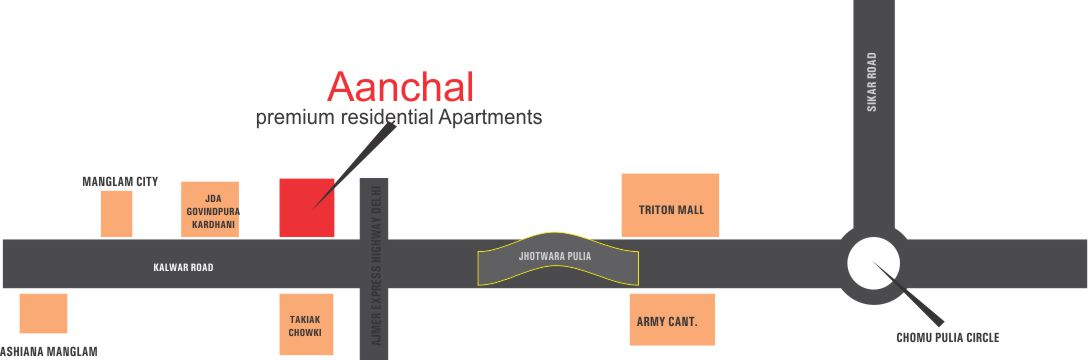Location Map Manglam Aanchal Flats in Jaipur