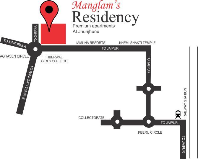 Lcation Map Manglam Residency Flats in jhunjhunu