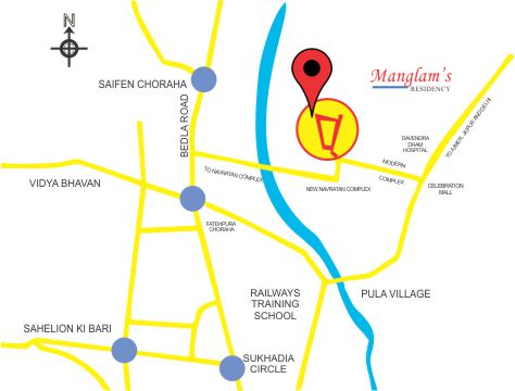 Lcation Map Manglam Residency Flats in Udaipur